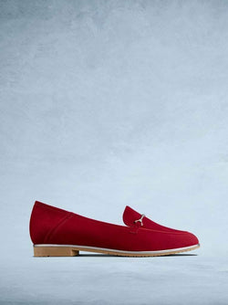 Fistral Red Suede - Elegant red suede pump with silver bar detailing.