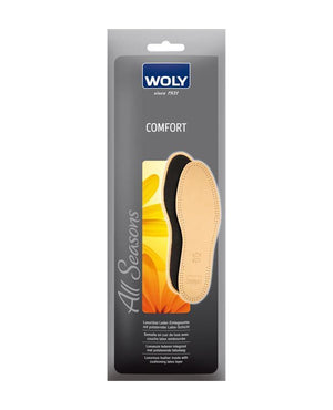 One pair of cushioned leather insoles for extra comfort.