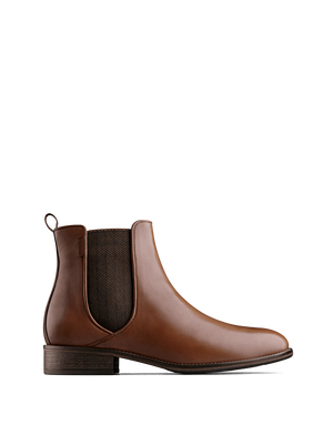 Grove ankle boots are made from soft tan leather with a two-tone herringbone elastic side panel.