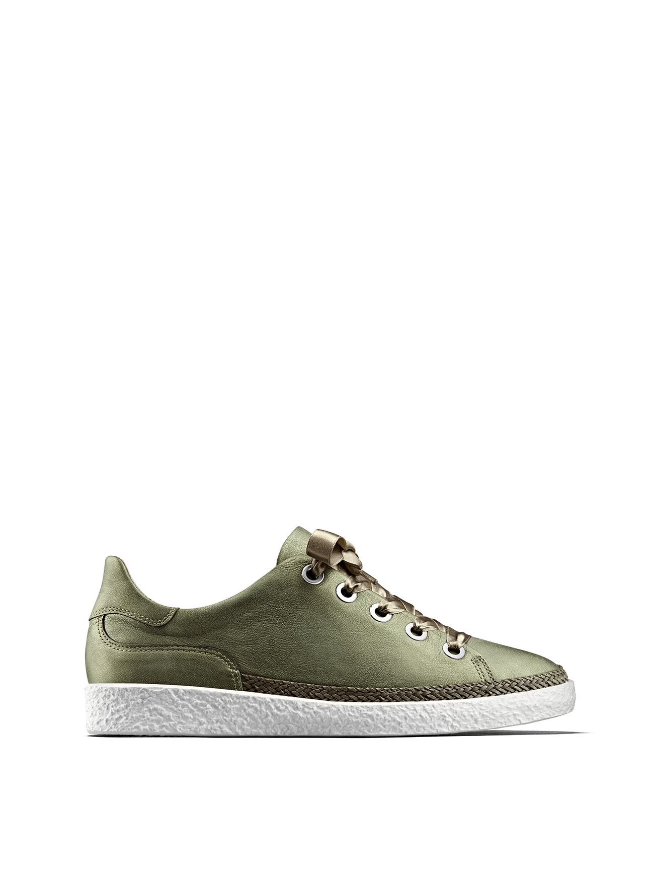 Harlyn, our statement khaki metallic leather trainer with side zip fastening.