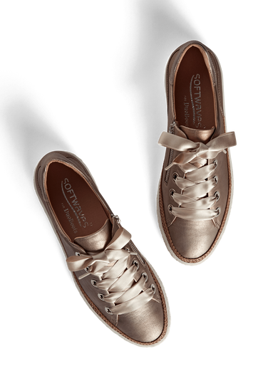 Haryln, our rose metallic leather trainer with cushioned insoles for comfort.