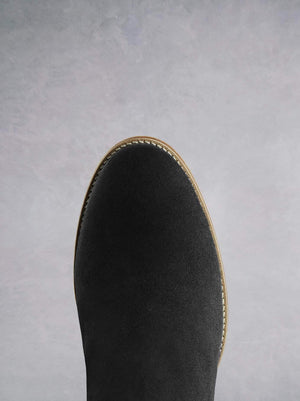 Hawkesmere Black Suede - Casual over the knee boot.