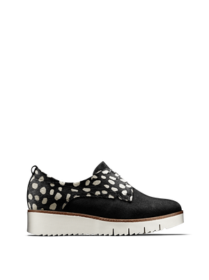 Hayle in monochrome hair leather has a derby silhouette, chunky sole and lace up design.