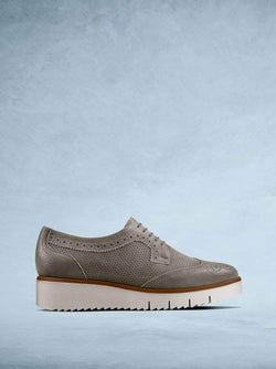 Helston Khaki Metallic Leather - Lace up flatform shoe with brogue detailing.