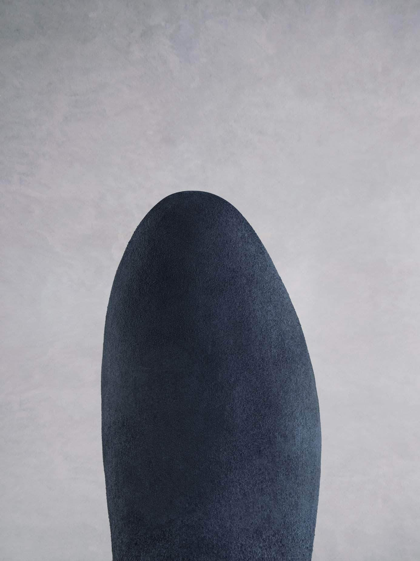 Kelston in navy suede has an almond toe and full length zip for easy wear.