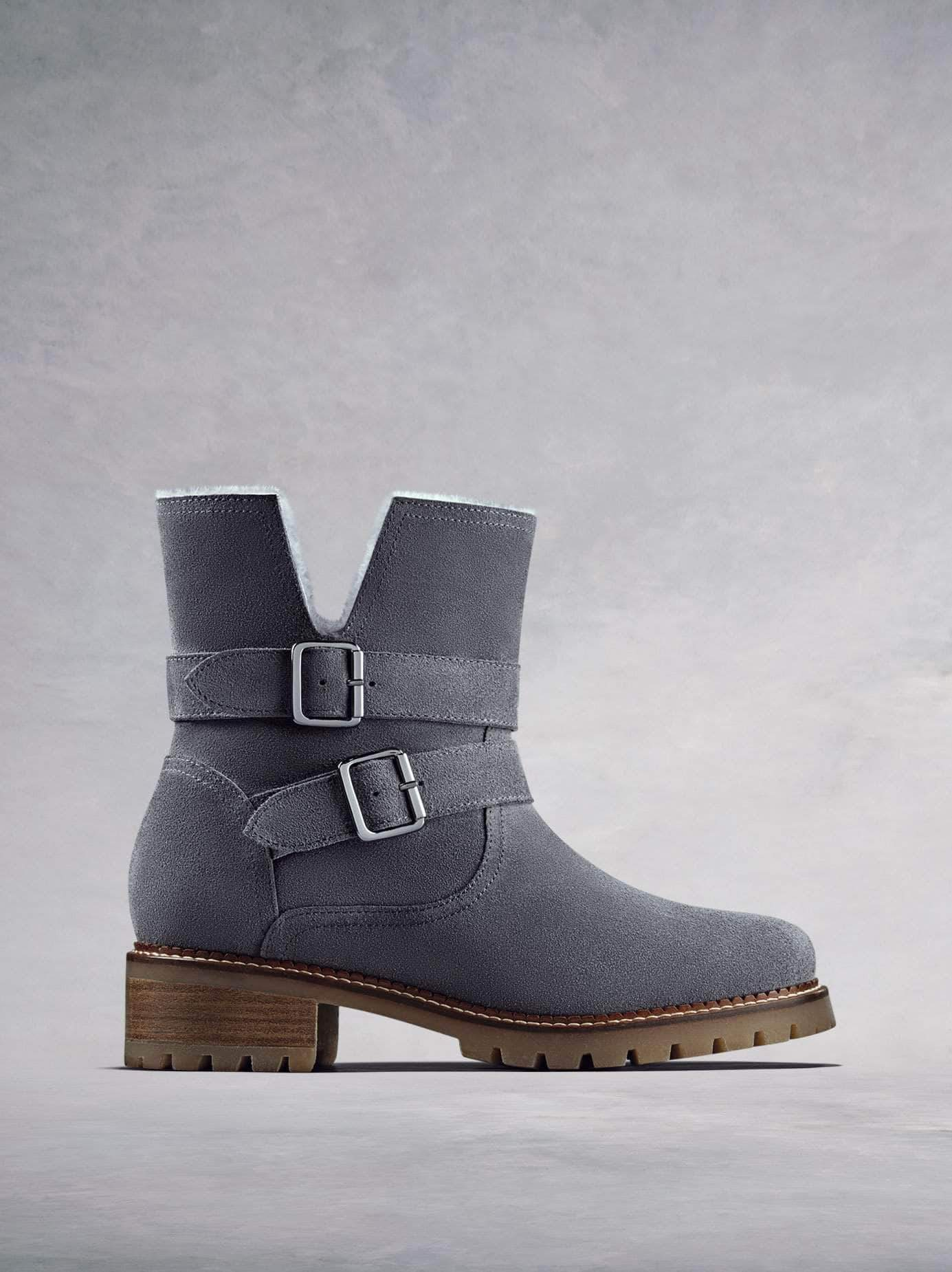 Longleat, our grey suede biker style ankle boot with a heavy tread sole. Available in our standard or wider fit.