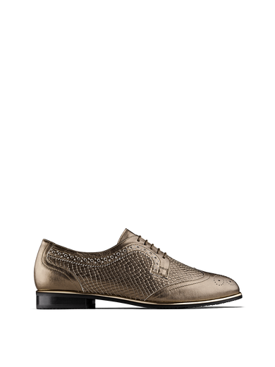 Mullion is a gold leather, Derby style brogue with snake embossed sections.