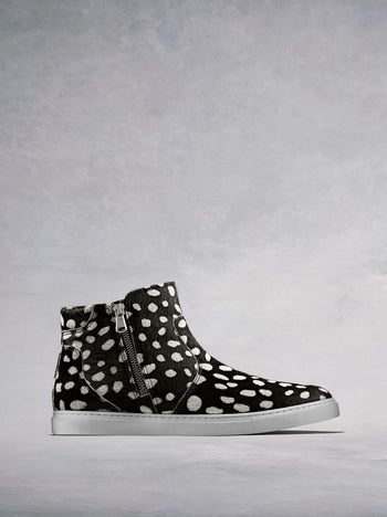 Parsonage Black And White Hair Leather - Hi-top ankle boot trainer.
