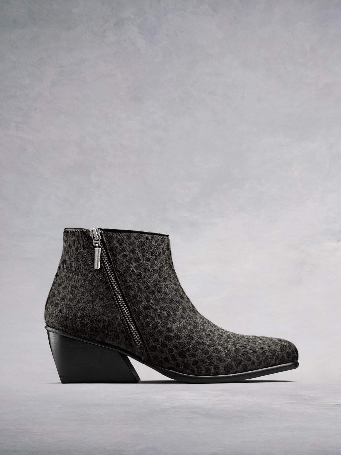 Renata, our on-trend ankle boot with angular heel and diagonal zip in grey leopard hair leather. Stand-out style. Available in our standard or wide fit.