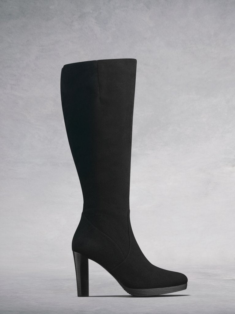 The Sedgeley, a beautifully tailored knee high boot in black suede.
