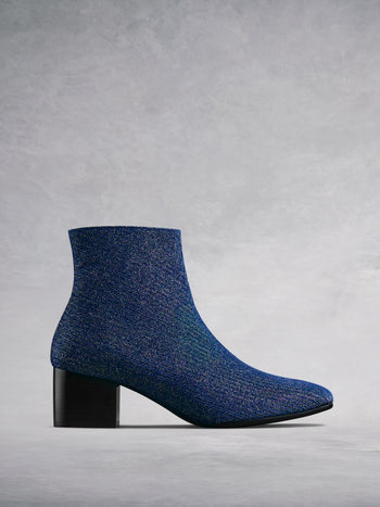 Shimmer Blue Sparkle Fabric - Low-heel ankle boots with square toe.