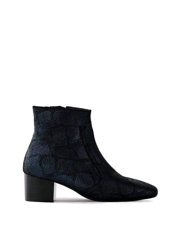 Shimmer Navy Metallic Lizard Leather - Low-heel ankle boots with square toe.