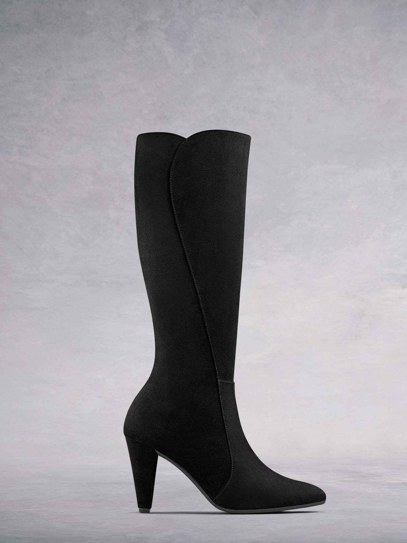 Wynter our luxury black suede heeled knee high boot with a smart curved heel.