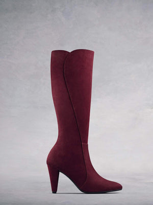 Wynter our luxury raspberry suede heeled knee high boot with a smart curved heel.