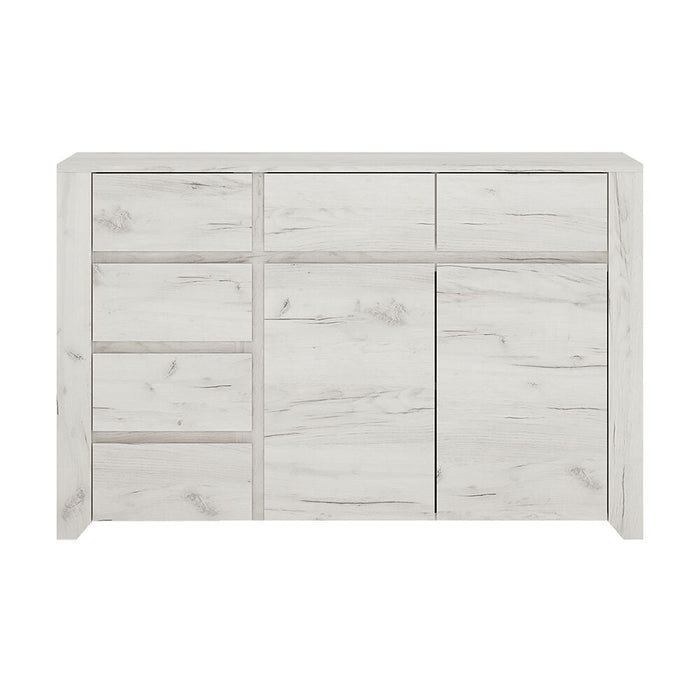 Chest Of Drawers, FTG, Angel 2 Door 3 + 3 Drawer Wide Chest - White - from thebeddingbox.co.uk