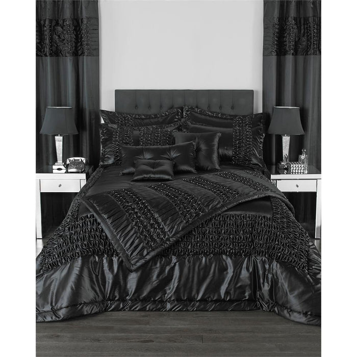 Bedspreads, Riva Home, Riva Home Monte Carlo Black Bedspread Set - 275x275cm - from thebeddingbox.co.uk
