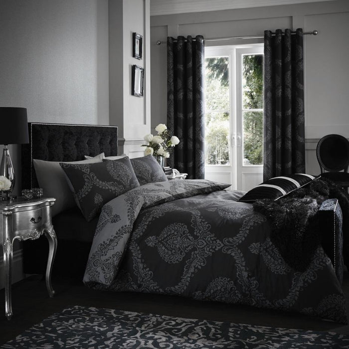 Duvet Cover, Catherine Lansfield, Catherine Lansfield Damask Easy Care Double Duvet Set Black - from thebeddingbox.co.uk