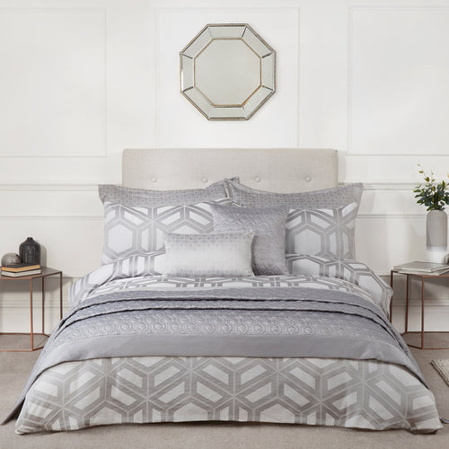 Julian Charles James Silver Geometric Duvet Cover