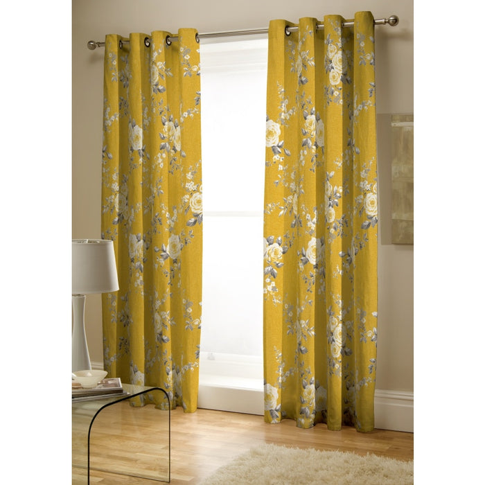 Curtains, Catherine Lansfield, Catherine Lansfield Canterbury Ochre Eyelet Curtains - 66x72 Inches (168x183cm) - from thebeddingbox.co.uk