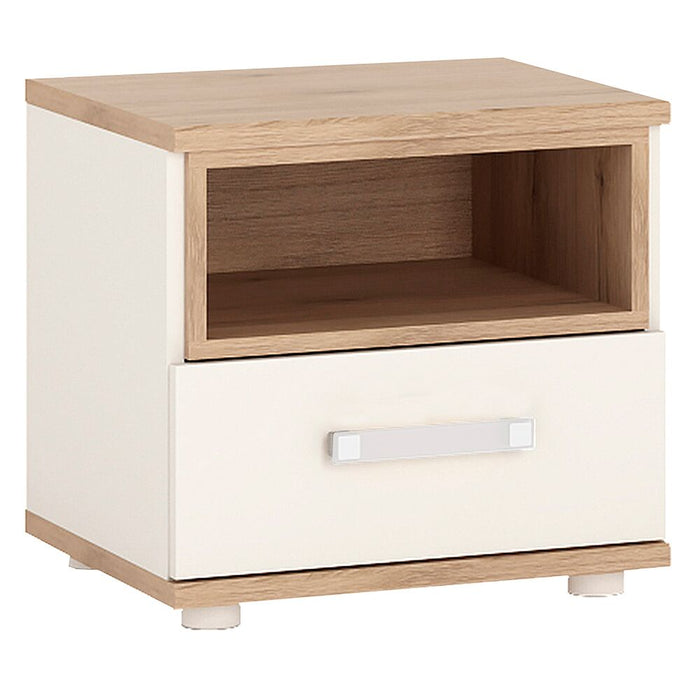 Side Tables, FTG, 4Kids 1 Drawer White & Light Oak Bedside Cabinet - from thebeddingbox.co.uk