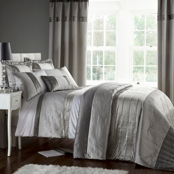 Bedspreads, Catherine Lansfield, Catherine Lansfield Home Signature Silver Gatsby Bedspread - 240x260cm - from thebeddingbox.co.uk
