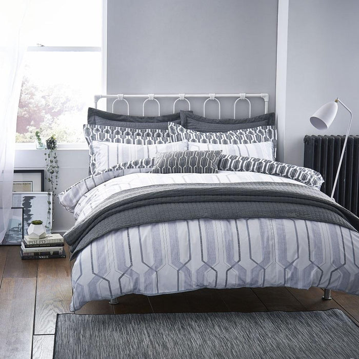 Duvet Cover, Bianca Cotton Soft, Bianca Cotton Soft Geo Cotton Print Grey Duvet Cover Set - from thebeddingbox.co.uk