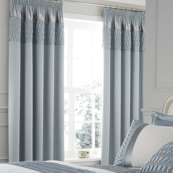 Curtains, Catherine Lansfield, Catherine Lansfield Quilted Luxury Satin Duck Egg Curtains - 66x72 Inches (168x183cm) - from thebeddingbox.co.uk