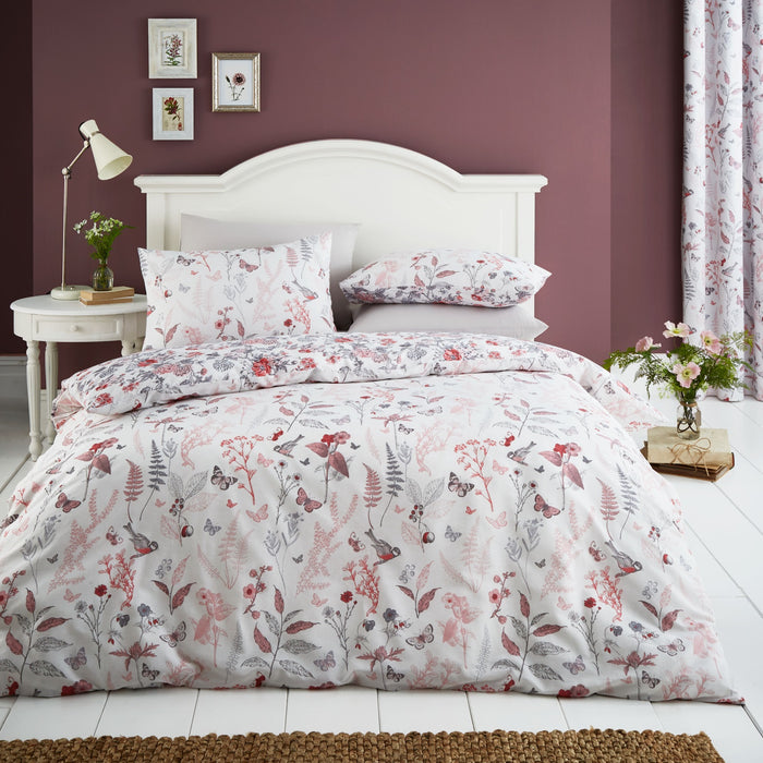 Duvet Cover, Catherine Lansfield, Catherine Lansfield Botanical Gardens Coral Duvet Cover Set - from thebeddingbox.co.uk