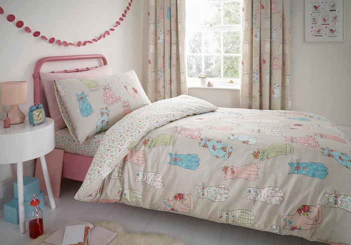 Kids Bedding, Bedlam, Bedlam Cheeky Cats Duvet Cover Set - from thebeddingbox.co.uk