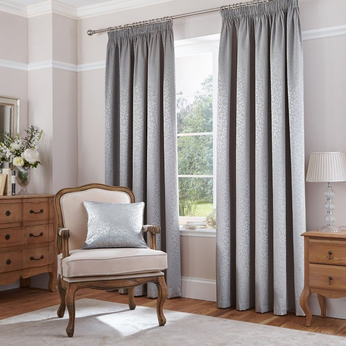 Curtains, Catherine Lansfield, Catherine Lansfield Thermal Leaf Jacquard Curtains - from thebeddingbox.co.uk