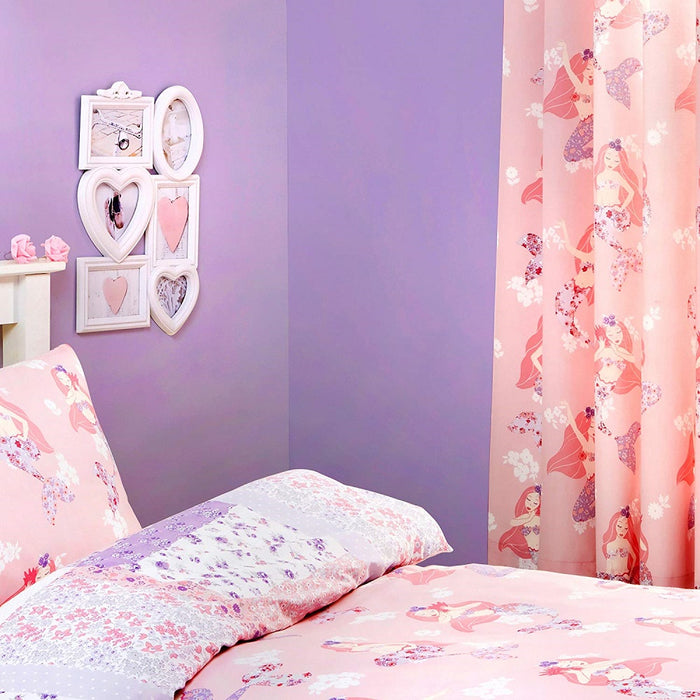 "Kids Curtains, Bedlam, Bedlam Mermaid Lined Pencil Pleat Curtains - 66"" Width x 72"" Drop (168 x 183cm), Pink - from thebeddingbox.co.uk"