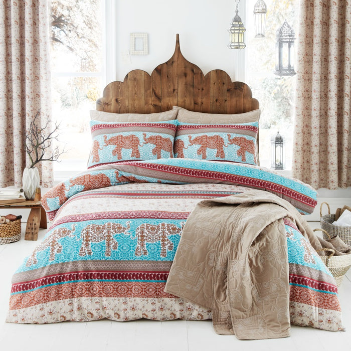 Bedspreads, Catherine Lansfield, Catherine Lansfield Elephant Easy Care Bedspread Natural, 220x230cm - from thebeddingbox.co.uk
