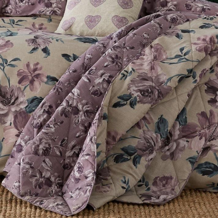 Bedspreads, Catherine Lansfield, Catherine Lansfield Painted Floral Plum Bedspread - 220x230cm - from thebeddingbox.co.uk
