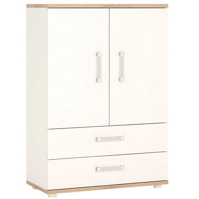 Cabinets, thebeddingbox, 4Kids Light Oak & White 2 Door 2 Drawer Cabinet - from thebeddingbox.co.uk