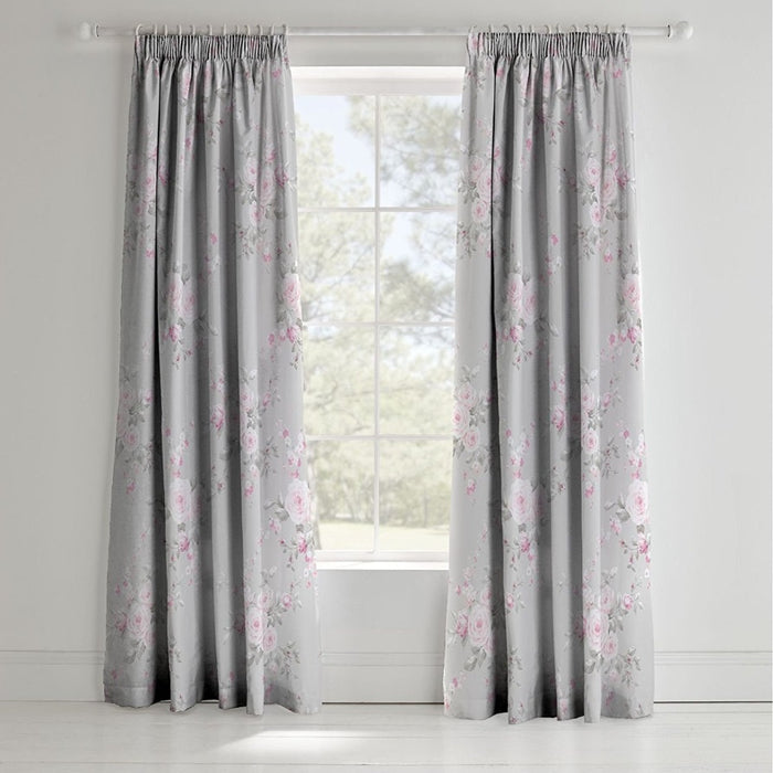 Curtains, Catherine Lansfield, Catherine Lansfield Canterbury Grey Curtains 66x72 Inches (168x183cm) - from thebeddingbox.co.uk