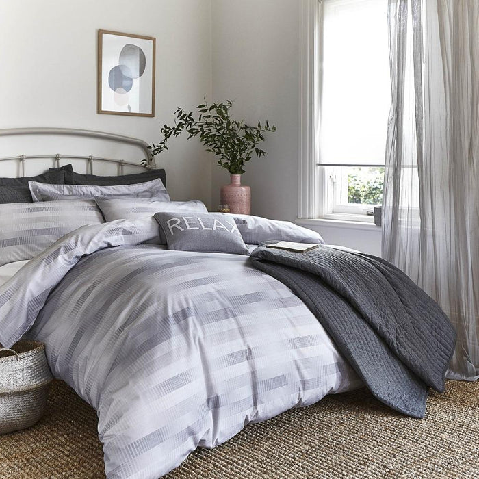 Duvet Cover, Bianca Cotton Soft, Bianca Soft Grey Stripe Check Duvet Cover Set - from thebeddingbox.co.uk