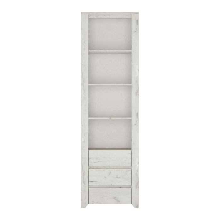 Bookcases, FTG, Angel Tall Narrow 3 Drawer Bookcase - White - from thebeddingbox.co.uk