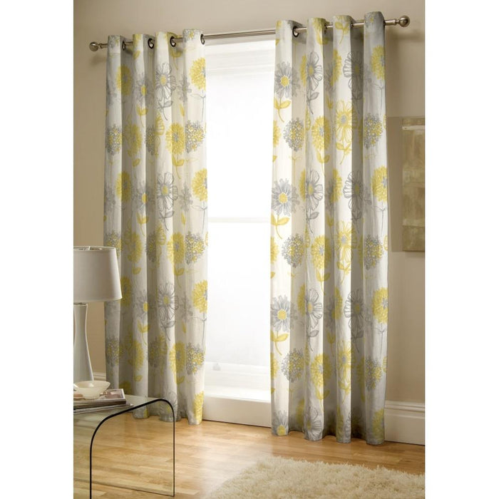 Curtains, Catherine Lansfield, Catherine Lansfield Banbury Floral Easy Care Yellow Curtains - 66x72 Inches (168x183cm) - from thebeddingbox.co.uk