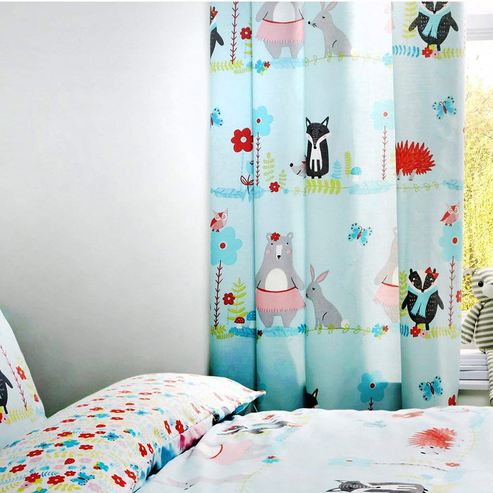 "Kids Curtains, Bedlam, Bedlam Woodland Fox Lined Pencil Pleat Curtains - 66"" Width x 72"" Drop (168 x 183cm), Duck Egg - from thebeddingbox.co.uk"