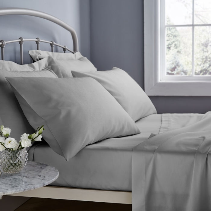 Fitted Sheet, Catherine Lansfield, Catherine Lansfield 500 Thread Count Grey Fitted Sheet - King - from thebeddingbox.co.uk