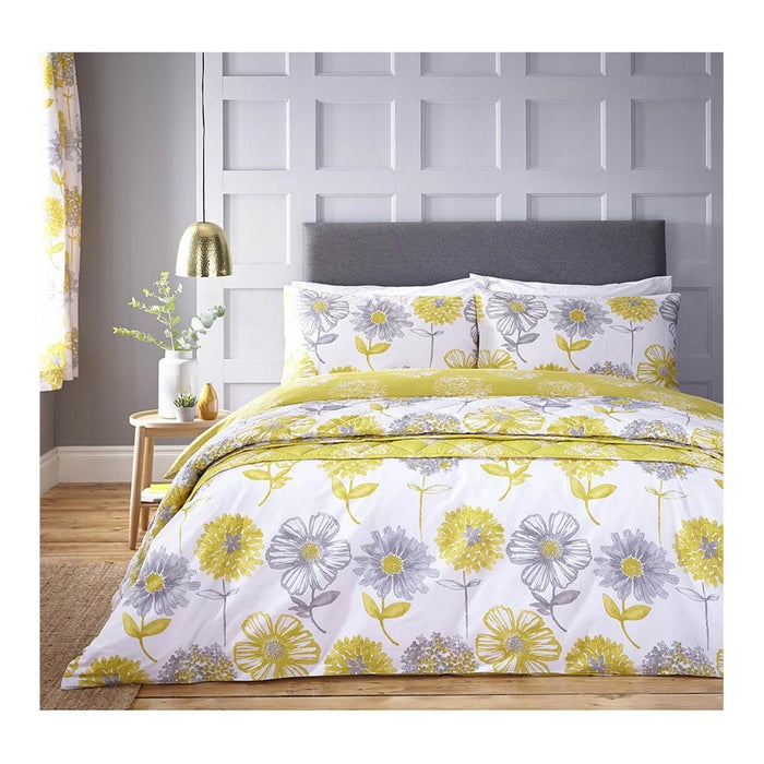 Duvet Covers, Catherine Lansfield, Catherine Lansfield Banbury Floral Easy Care Yellow Duvet Cover Set - from thebeddingbox.co.uk