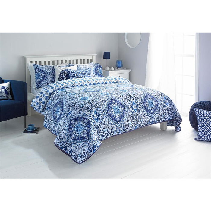 Bedspreads, Riva Home, Riva Home Ionia Indigo Bedspread - 240x260cm - from thebeddingbox.co.uk