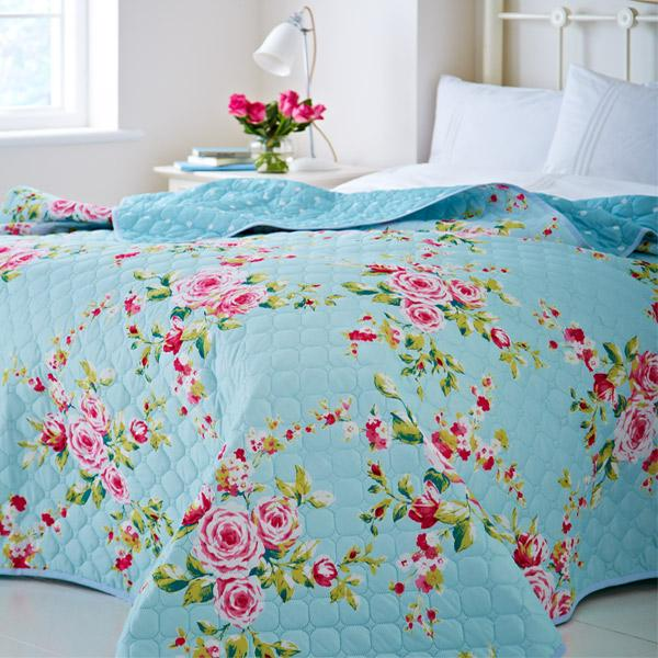 Bedspreads, Catherine Lansfield, Catherine Lansfield Canterbury Blue Bedspread - 240x260cm - from thebeddingbox.co.uk