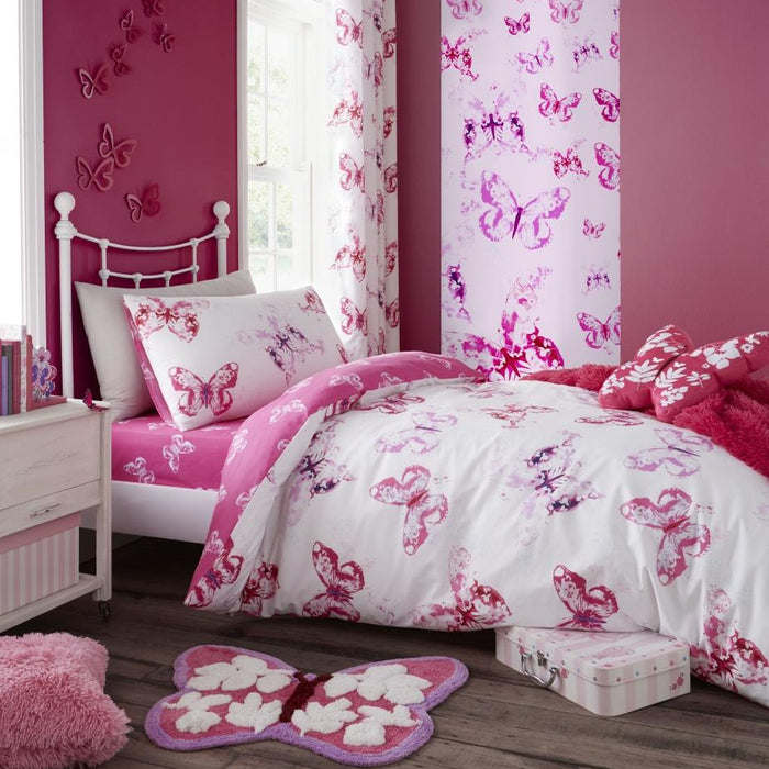 Kids Duvet Cover, Catherine Lansfield, Catherine Lansfield Kids Butterfly Pink Duvet Cover Set - from thebeddingbox.co.uk