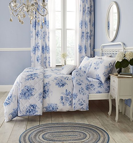 Curtains, Catherine Lansfield, Catherine Lansfield Canterbury Floral Blue Eyelet Curtains Blue - 66x72 Inches (168x183cm) - from thebeddingbox.co.uk