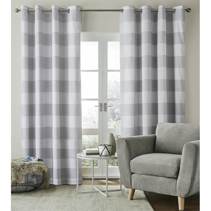 Curtains, Catherine Lansfield, Catherine Lansfield Bold Check Grey Eyelet Curtains - from thebeddingbox.co.uk