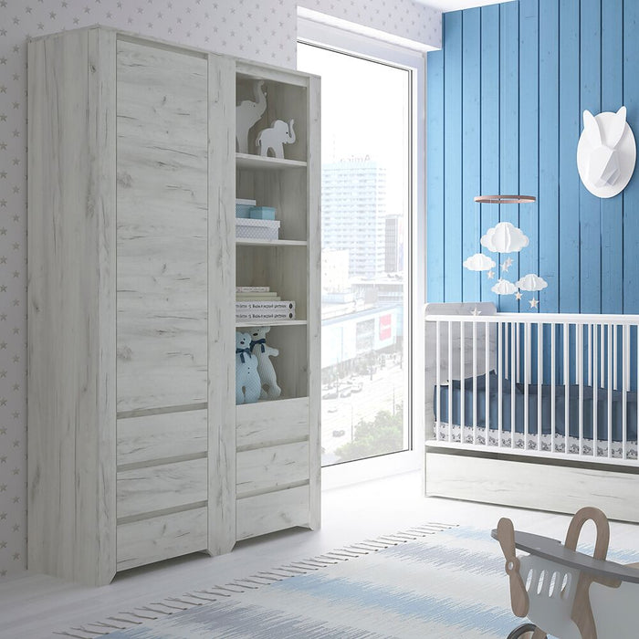 Cabinets, FTG, Angel Tall Narrow One Door 3 Drawer Narrow Cupboard - White - from thebeddingbox.co.uk