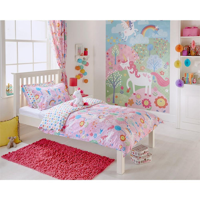 Kids Bedroom Accessories, Riva Home, Riva Home Unicorn Pink Pencil Pleat Curtains - 66x72 Inches (168x183cm) - from thebeddingbox.co.uk