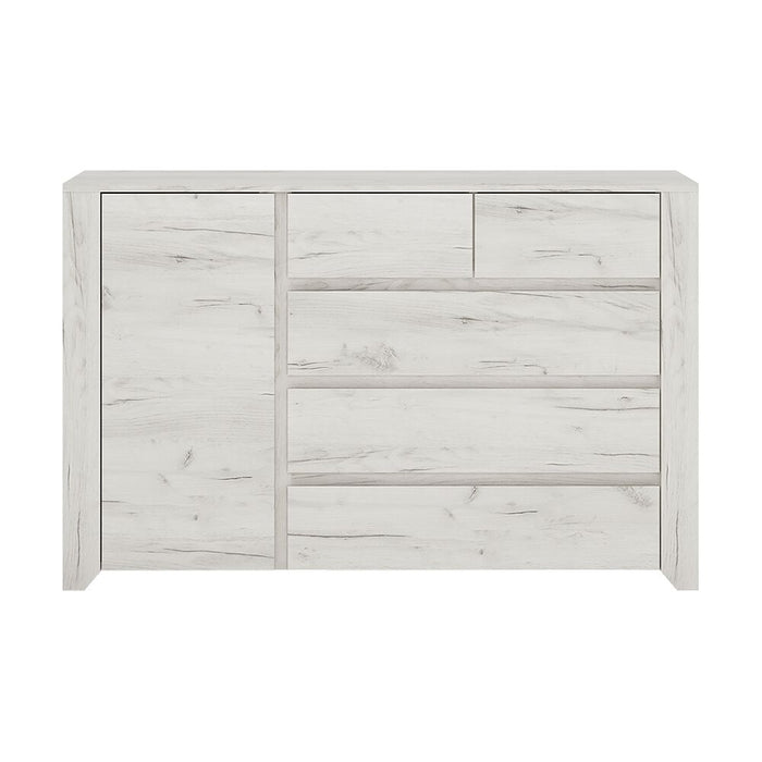 Chest Of Drawers, FTG, Angel 1 Door 2 + 3 Drawer Chest - White - from thebeddingbox.co.uk