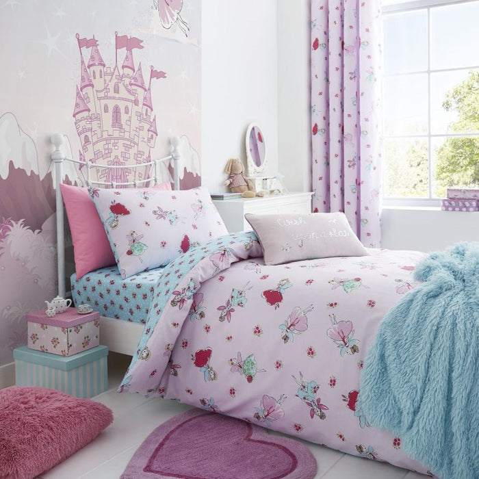 Kids Duvet Cover, Catherine Lansfield, Catherine Lansfield Kids Fairies Pink Fitted Sheet - from thebeddingbox.co.uk